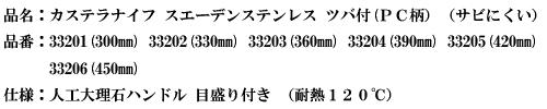 品名:カステラナイフ スウェーデンステンレス ツバ付(PC柄)(サビにくい).png